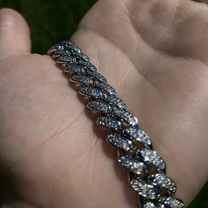 REAL 14K WHITE GOLD ICED OUT CUBAN LINK